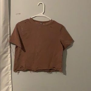 H&M cropped distressed tee